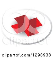 Clipart Of A 3d Red Cross Hole In A Circle Royalty Free Vector Illustration