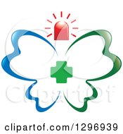 Blue And Green First Aid Medical Butterfly With A Cross And Siren