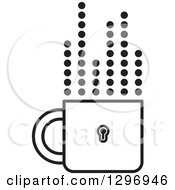 Clipart Of A Black And White Padlock Cup With Dotted Steam Lines Royalty Free Vector Illustration by Lal Perera