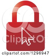 Clipart Of A Red Padlock With Arrow Cursor Royalty Free Vector Illustration by Lal Perera