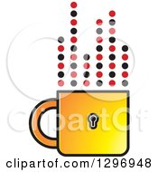 Clipart Of A Yellow Padlock Cup With Dotted Steam Lines Royalty Free Vector Illustration by Lal Perera