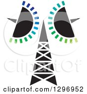 Clipart Of A Black And White Cellular Communications Tower And Colorful Bars Royalty Free Vector Illustration