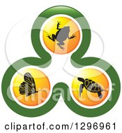 Clipart Of A Biology Logo Of A Frog Sea Turtle And Butterfly In Orange Circles In A Green Design Royalty Free Vector Illustration by Lal Perera