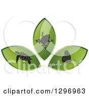 Clipart Of Green Leaves With A Black Frog Butterfly And Sea Turtle Royalty Free Vector Illustration by Lal Perera