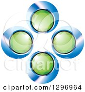Clipart Of Green Emerald Gems In Blue And Black Circles Royalty Free Vector Illustration by Lal Perera