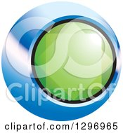 Clipart Of A Green Emerald Gem In A Blue And Black Circle Royalty Free Vector Illustration by Lal Perera
