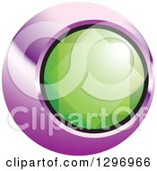 Clipart Of A Green Emerald Gem In A Purple And Black Circle Royalty Free Vector Illustration by Lal Perera