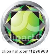 Clipart Of A Green Emerald Gem In A Silver Circle Royalty Free Vector Illustration by Lal Perera