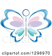 Clipart Of A Blue Butterfly With Colorful Pastel Petal Patterned Wings And A Dental Tool Royalty Free Vector Illustration by Lal Perera