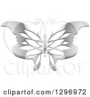 Clipart Of A Gradient Silver Butterfly With Petal Patterned Face Tipped Wings Royalty Free Vector Illustration by Lal Perera