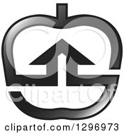 Clipart Of A Grayscale House In An Apple Royalty Free Vector Illustration by Lal Perera