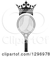 Clipart Of A Black And White Crown Over A Tennis Racket Royalty Free Vector Illustration by Lal Perera