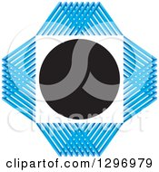 Clipart Of A White Square And Black Circle With A Blue Grid Diamond Royalty Free Vector Illustration by Lal Perera