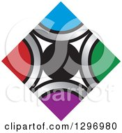 Clipart Of A Circle And Diamond Of Silver And Colors Royalty Free Vector Illustration by Lal Perera