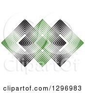 Overlapping Diamonds Made Of Black And Green Lines