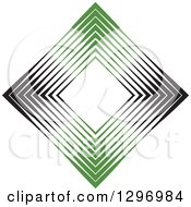 Clipart Of A Diamond Made Of Black And Green Lines Royalty Free Vector Illustration by Lal Perera