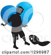Clipart Of A Black Silhouetted Boy Playing Over A Blue Heart Royalty Free Vector Illustration