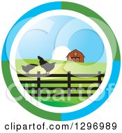 Circle Scene Of A Sunrise With A Barn And Chickens