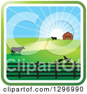 Clipart Of A Sunrise With A Barn Chickens And Cows Royalty Free Vector Illustration