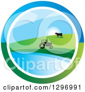 Clipart Of A Circle Scene Of A Sunrise With A Tractor And Cow At A Pond Royalty Free Vector Illustration