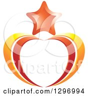 Clipart Of A Star Over Orange And Yellow Heart Swooshes Royalty Free Vector Illustration by Lal Perera