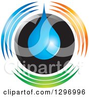 Clipart Of A Blue Water Drop Over A Black Circle With Colorful Lines Royalty Free Vector Illustration by Lal Perera