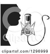 Clipart Of A Black Silhouetted Man Singing Into A Microphone Royalty Free Vector Illustration