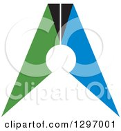 Clipart Of A Green Blue And Black Abstract Man Or Crown Royalty Free Vector Illustration