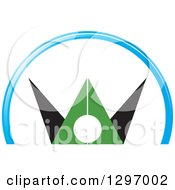 Clipart Of A Green And Black Abstract Cheering Man In A Blue Arch Royalty Free Vector Illustration