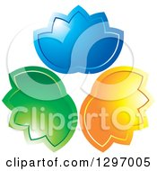 Clipart Of Shiny Blue Green And Orange Lotus Flowers Royalty Free Vector Illustration by Lal Perera