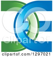 Clipart Of A Green And Blue DE Logo Royalty Free Vector Illustration