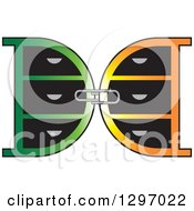 Clipart Of A Paperclip Connecting Mirrored Green And Orange Letter D Lockers Royalty Free Vector Illustration