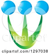 Clipart Of Green Prongs With Blue Circles Royalty Free Vector Illustration by Lal Perera