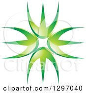 Clipart Of A Circle Of Green Prongs Royalty Free Vector Illustration by Lal Perera