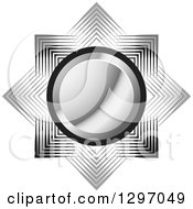 Clipart Of A Silver Circle Over Gray And Black Lines Royalty Free Vector Illustration