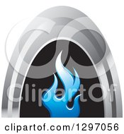 Clipart Of A Silver Arch Over Blue Flames On Black Royalty Free Vector Illustration by Lal Perera