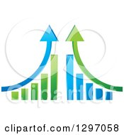 Clipart Of Mirrored Green And Blue Bar Graphs With Up Arrows Royalty Free Vector Illustration by Lal Perera