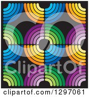 Clipart Of A Background Of Colorful Circles On Black Royalty Free Vector Illustration by Lal Perera