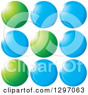 Clipart Of Shiny Blue And Green Circles Royalty Free Vector Illustration by Lal Perera