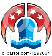 Clipart Of A Blue Cruiseship And Waves With Red Flags And Stars Royalty Free Vector Illustration by Lal Perera