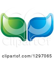 Clipart Of Shiny Green And Blue Leaves Royalty Free Vector Illustration
