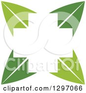 Clipart Of A White Cross In The Center Of Green Leaves Royalty Free Vector Illustration