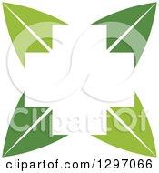 White Cross In The Center Of Green Leaves