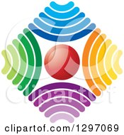 Clipart Of A Red Circle In A Diamond Of Colorful Signals Royalty Free Vector Illustration by Lal Perera