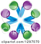 Clipart Of A Circle Of Blue V Letters With Green And Purpel Spheres Royalty Free Vector Illustration