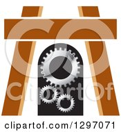 Clipart Of A Wood Easle And Gears Royalty Free Vector Illustration