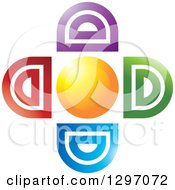 Clipart Of A Sun With Colorful Abstract Rays Royalty Free Vector Illustration