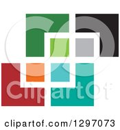 Clipart Of A Colorful Abstract Design Of Squares Royalty Free Vector Illustration