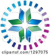Clipart Of A Gradient Cricle Around Green And Blue Leaves Royalty Free Vector Illustration by Lal Perera