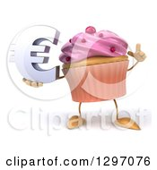 Clipart Of A 3d Pink Frosted Cupcake Character Holding Up A Finger And A Euro Symbol Royalty Free Illustration by Julos